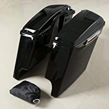XFMT 5 Inch Stretched Extended Saddlebags W/Speaker Grill Compatible with Harley Road King Glide 2014-2018 Road King, Road Glide, Street Glide, Electra Glide, Ultra-Classic FLT, FLHT, FLHTCU, FLHRC