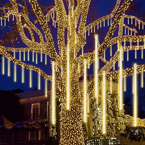 GPODER Meteorschauer Lichter 30CM, 8 Wasserdicht Tubes Meteor Lichterkette, 288 LEDs Lichterkette, Meteorschauer Regen Lichter für Weihnachtsdekoration, Garten, Aussen und Party(Warmweiß)