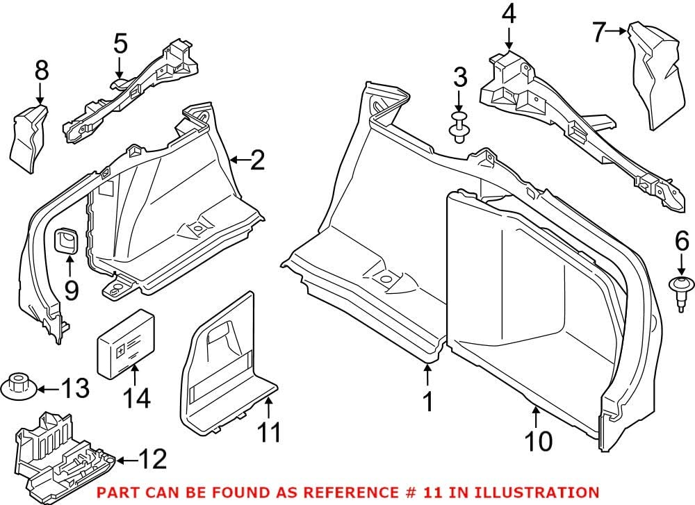 Genuine Colorado Springs Mall OEM Rear Driver Left Rearward Interior Panel Quarter Popular shop is the lowest price challenge Tri
