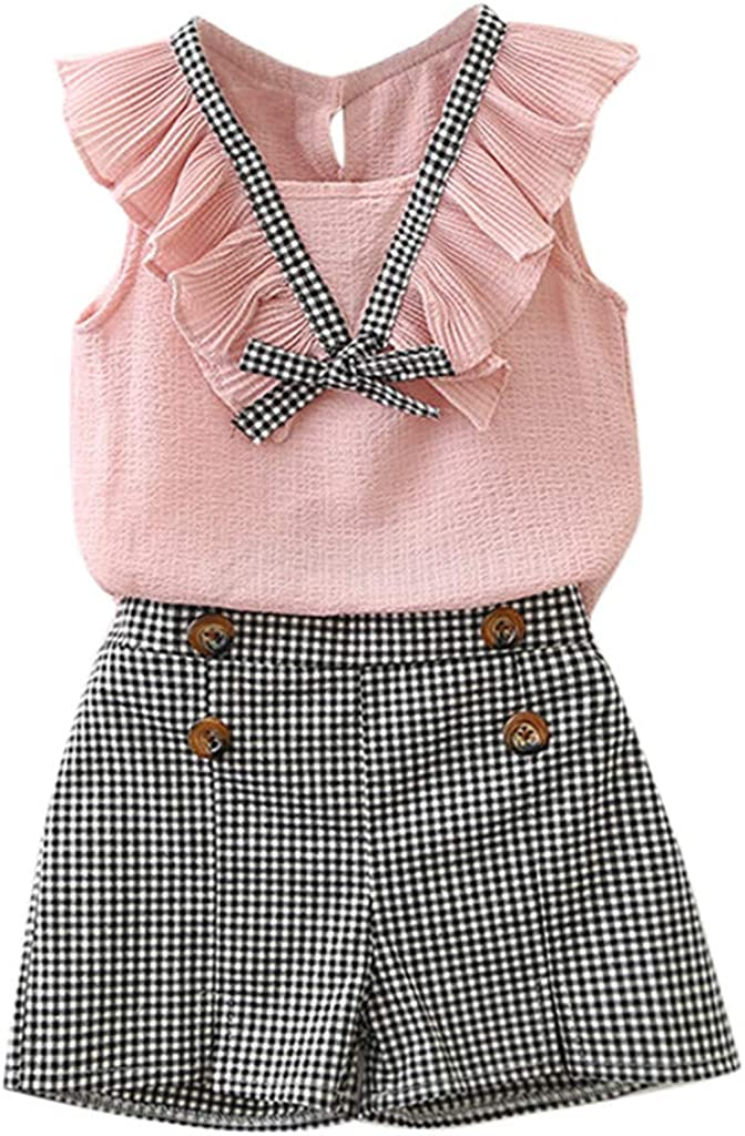 Eghunooye Toddler Baby Girl Ruffle Fly Sleeve Pinafore A-line Princess Dress Summer Suspender Skirt Cotton Backless Dress