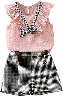 Ropa Niña Verano 2 a 3 4 5 6 7 años - 2PC/Conjunto - Blusa con Lazo de Gasa + Pantalones Corto a Cuadros