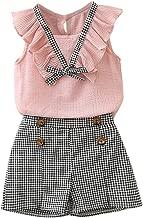 2Piece Toddler Kids Baby Girls Outfits Clothes Bowknot Chiffon Ruffle Vest Shirt Tops+Plaid Shorts Pants Set