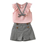 2Piece Toddler Kids Baby Girls Outfits Clothes Bowknot Chiffon Ruffle Vest Shirt Tops+Plaid Shorts Pants Set