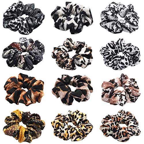 WATINC 12Pcs Hair Scrunchies with Animal Pattern, Snake Printed Traceless Hair Ties, Leopard Printed Strong Elastic Hair Bobbles for Ponytail Holder, Hair Accessories Ropes Scrunchie for Women