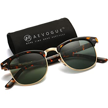 AEVOGUE Polarized Sunglasses For Women And Men Semi Rimless Frame Retro Brand Sun Glasses AE0369