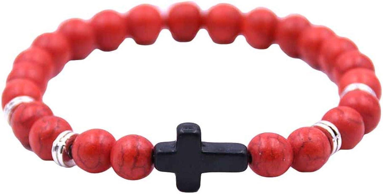 Bracelet for Women,Fashion Unisex 6 Colors Cross Charm Elastic Rope Bracelet Stone Bangle Jewelry