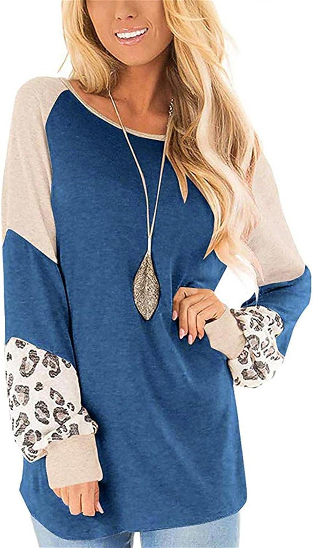 Women's Leopard Print Color Block Tunics Long Sleeve Casual Sweatshirts Loose Crew Neck Pullover Tops Shirts