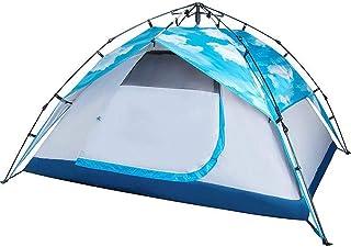 DorisAA camping tält enkel inställning 3-4 personer automatisk camping tält vattentät dubbla lager solskydd (färg: himmels...
