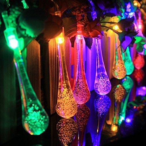 ZUOYETY Cadena de 20 luces LED de cristal accionadas con energía solar para interiores y exteriores, luz colorida resistente al agua, luces estrelladas para Navidad, boda, fiesta, decoración del hogar
