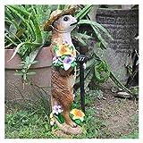 CNZXCO Erdmännchen Gartenfigur, Gartenzwerg lustig, Gartenfiguren für außen, Indoor Outdoor Rassing Dekoration Ornament Geschenk, Als Geschenk für einen Gartenliebhaber, Strohhut Erdmännchen Ornament