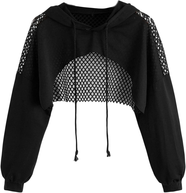 SheIn Women's Plus Fishnet Mesh Crop Hoodie Long Sleeve Drawstring Hooded Sweatshirt