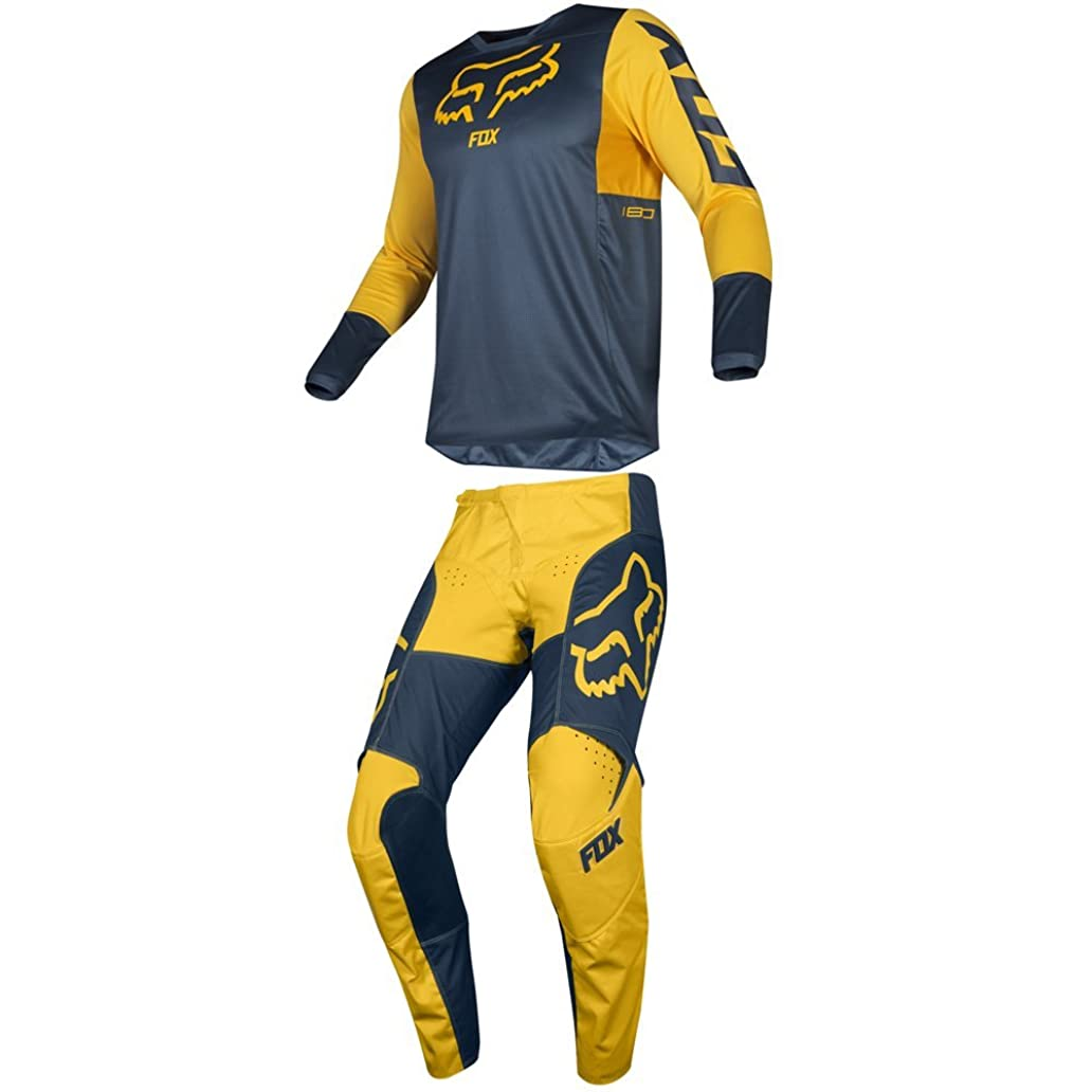 Fox Racing 2019 180 PRZM Jersey and Pants Combo Offroad Gear Set Adult Mens Navy/Yellow XL Jersey/Pants 36W oup1122745