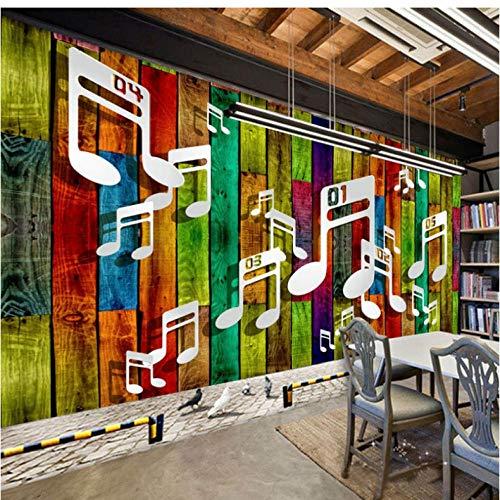 Gepersonaliseerde muurschildering die oude houtnoten herstelt, personaliseerbaar 250 x 175 cm.