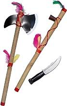 Amakando Tomahawk, Pipa de la Paz y Cuchillo   Conjunto de Guerrero Indio   Bisutería India   Disfraz Indio Accesorios