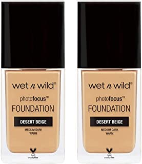 Wet N Wild Photo Focus Foundation, 1 fl oz / 30 mL (2 Pack, 372C Dessert Beige)