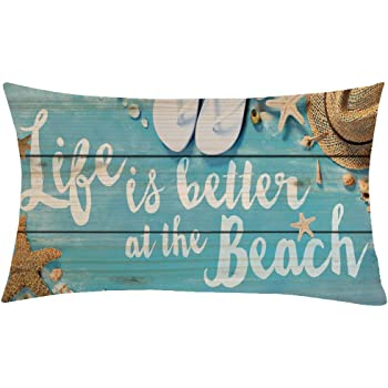 Jimrou Throw Pillow Cover 12x20inches Festival Gifts Life Is Better At The Beach Blue Wood Grain Starfish Sea Snail Sun Hat Cotton Linen Decorative Home Sofa Chair Car Throw Pillow Case
