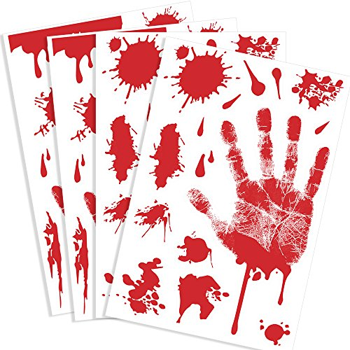 KUUQA Bloody Handprint Clings Horror PVC Aufkleber Decals für Halloween Dekorationen 4 Stück