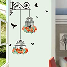 BIBITIME 2 Flower Wreath Birdcages with Black Birds Wall Decal Vinyl Butterfly Sticker for Office Window Living Room Porch Door Back Kitchen Bedroom DIY Art Mural