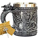 Medieval GOT Dragon D&D Game Mug of Thrones Merchandise Beer Steins Viking Tankard Mug Stainless Coffee Cup Gift Mug for Dragon Collector, Themed Party Decoration