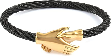 Shop LC Delivering Joy Womens ION Plated Yellow Gold Black/White Steel Fashion Handshake Cuff Bangle Bracelet for Women 8 inch