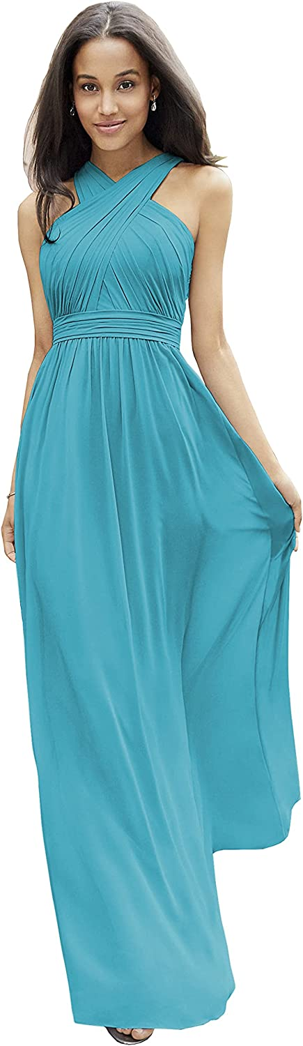 Halter A-Line Chiffon Pleated Bridesmaid Dress for Women Long Formal Gown