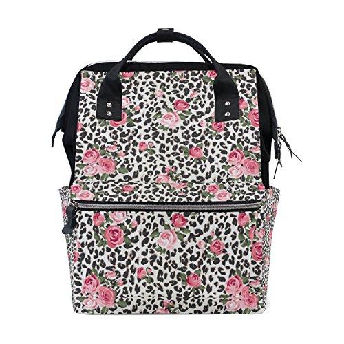 COOSUN Leuke Rose Mix Luipaard Patroon luier veranderen tas luier rugzak met geïsoleerde zakken wandelwagen banden, grote capaciteit multifunctionele stijlvolle luiertas voor mama papa outdoor