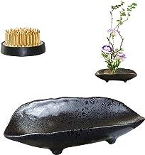 WANDIC Flower Arranging Supplies Black Spotted Boat Shaped Ceramic Ikebana vases with 4cm Round Flower Frog for Ikebana Floral Arrangement Art Home Decoration