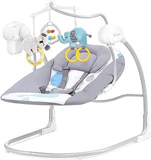 Kinderkraft Babywippe MINKY, Babyschaukel, Wippe, Schaukelwippe mit Vibration, Spielbogen, Spielzeug und Moskitonetz im Set enthalten, Klappbar, 8 Melodien, von Geburt, Minze