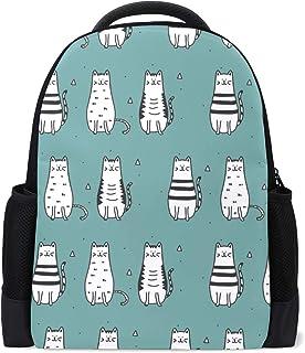 FANTAZIO mochila encantos negro y blanco gato escuela mochila Daypack