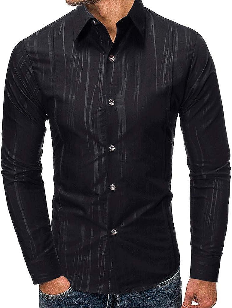 Men's Shirt Long Sleeve Regular Fit Casual Button Down Solid Dress Shirt Tops