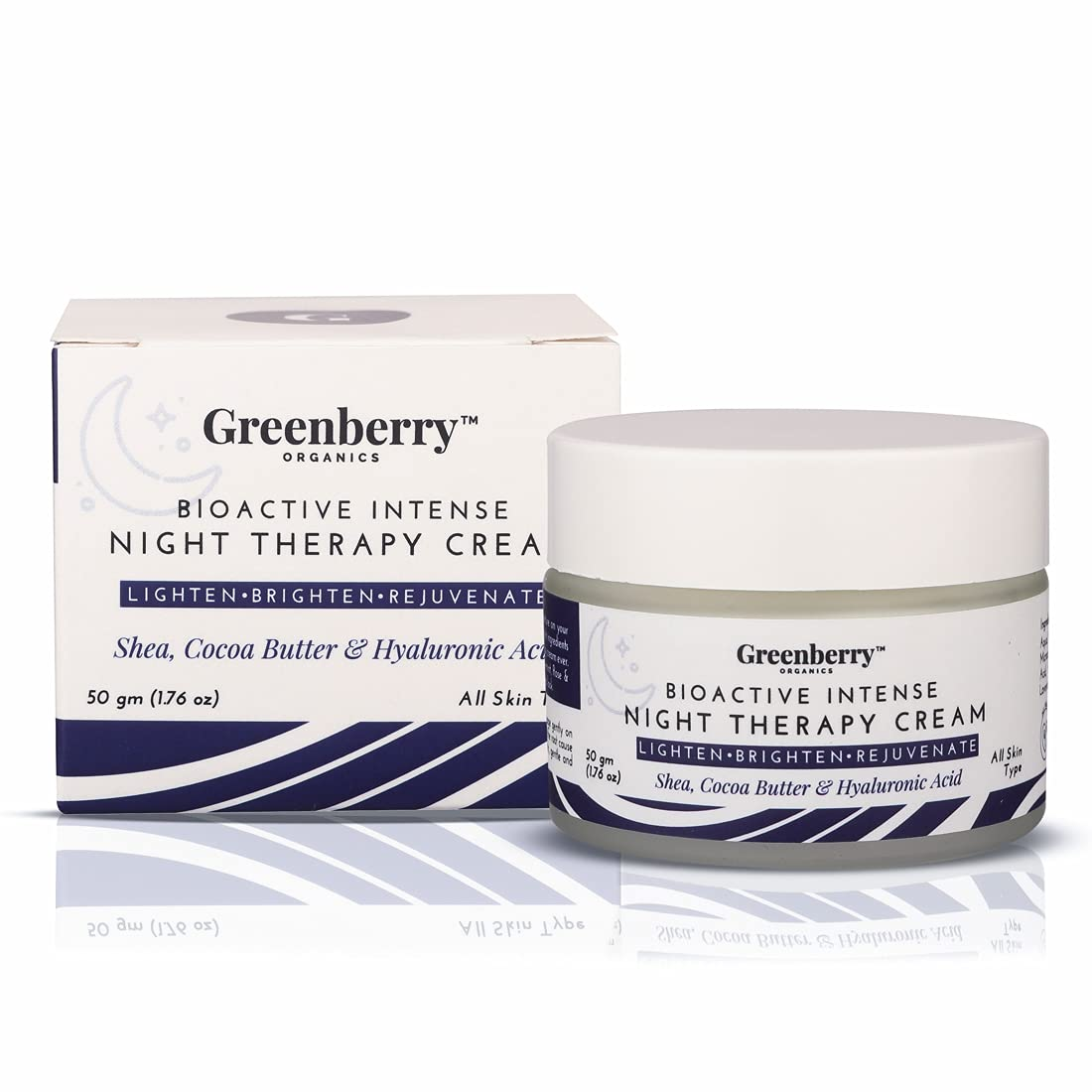 Greenberry Organics Bio Active Intense Night Therapy Cream with Shea, Cocoa Butter & Hyaluronic Acid, Rejuvenate, Anti-Ageing, Wrinkle Control