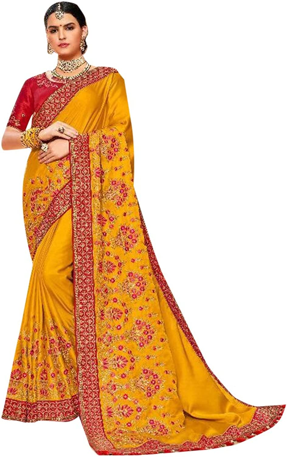 Mustard Yellow Designer Reception wear Satin Silk Sari for Women Indian Zari work Saree with Blouse 7635