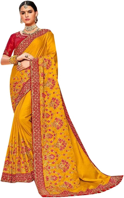 Mustard Yellow Designer Reception wear Satin Silk Sari for Women Indian Zari work Saree with Blouse 7635