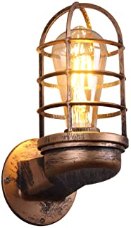 KAYIMAN Lámpara de pared retro Iluminación industrial vintage Aplique de pared rústico Jaula de metal Aplique de metal Lámpara de interior interior Retro (sin bombilla)