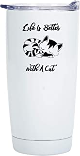 Life Is Better With A Cat 20 Ounce Glossy White Stainless Steel Travel Tumbler Mug