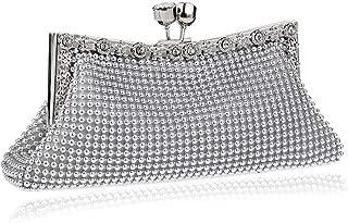 Fashion Ladies Hollow Aluminum Crystal Dinner Clutch Bag Banquet Bag Fashion Evening Bag Bridal Gown Bags (Color : Silver)