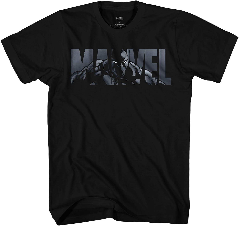 Marvel Black Panther 2018 Text Logo Boys Graphic T Shirt Size Large