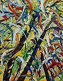 FOREST WITH BUTTERFLY olio su tela 100x80cm Pintura con espátula con pinturas al óleo y acrílicas, arte de muebles modernos, arte contemporáneo, arte abstracto, paisajes modernos