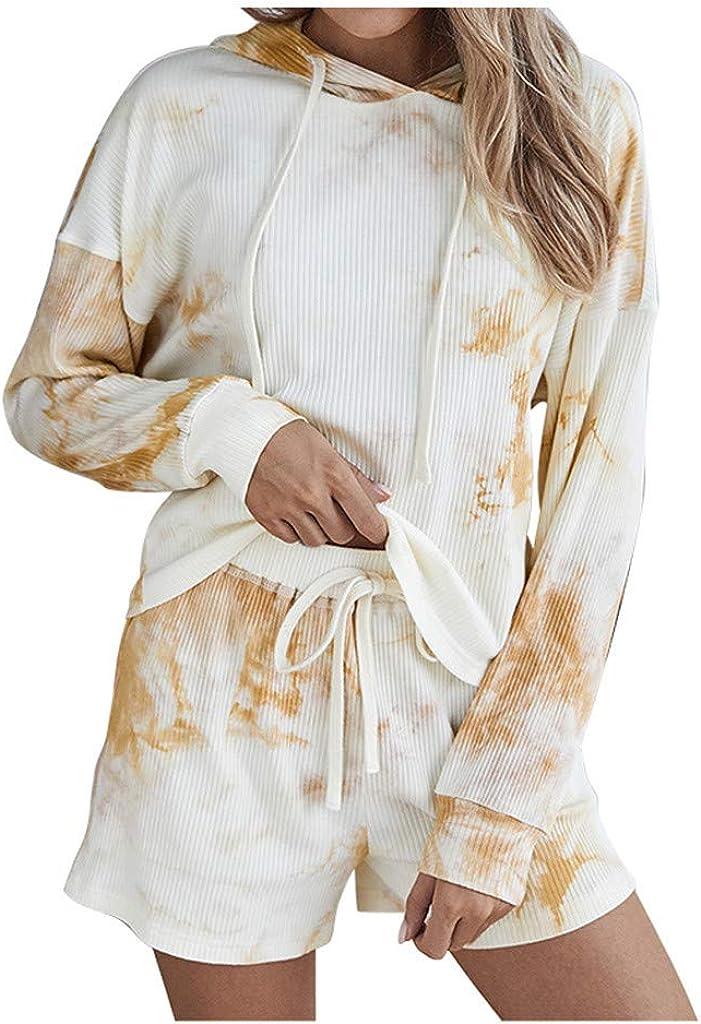 Tie Dye Lounge Sets for Women,Women Short Pajamas Set Long Sleeve Tops and Shorts PJ Set 2 Piece Sleepwear