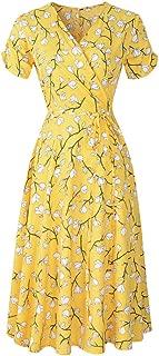 aomigell Women's V Neck Short Sleeve Wrap Dress Bohemian Floral Print Flowy Midi Dress