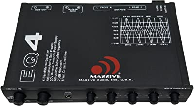 Massive Audio EQ4 Car Equalizer with 4 Band Graphic Equalizer – AUX inputs –..