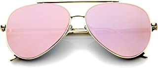 Mirrored Oversized Aviator Sunglasses for Women with Flat Mirror Lens 58mm