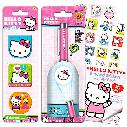 Hello Kitty Pen Set ~ Hello Kitty Projector Pen with Clip, Bookmark Page Clips, and Reward Stickers Activity Book (Hello Kitty Office Supplies, School Supplies)