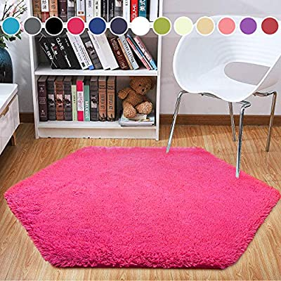 junovo Ultra Soft Rug for Nursery Children Room Baby Room Home Decor Dormitory Hexagon Carpet for Playhouse Princess Tent Kids Play Castle, Diameter 4.6 ft, Hot-Pink