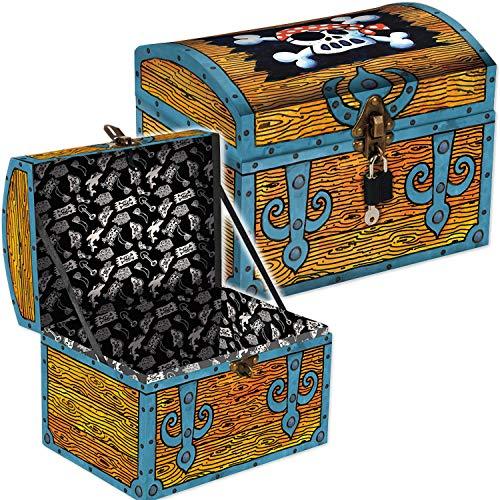 Coole Schatztruhe * PIRATENSCHATZ * für Piraten Kindergeburtstag und Geocaching | mit Schloss, 2 Schlüssel und Geheimfach | Schatzkiste Schatzbox Truhe Kiste Pirat Schatz Party Kinder Geburtstag