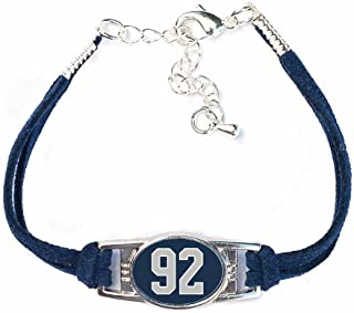 AttitudeArcade Number Charm Bracelet (00-99) Jersey Style in Team Colors (Navy Blue & Silver)