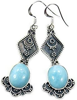 Lavish Sterling Silver Genuine Dominican Larimar Dangle Earrings