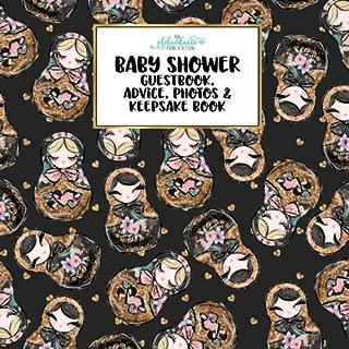 Baby Shower Guestbook, Advice, Photos & Keepsake Book: Russian Stacking Dolls Floral Folk Art Matryoshka  Series, Baby Shower Book Gift