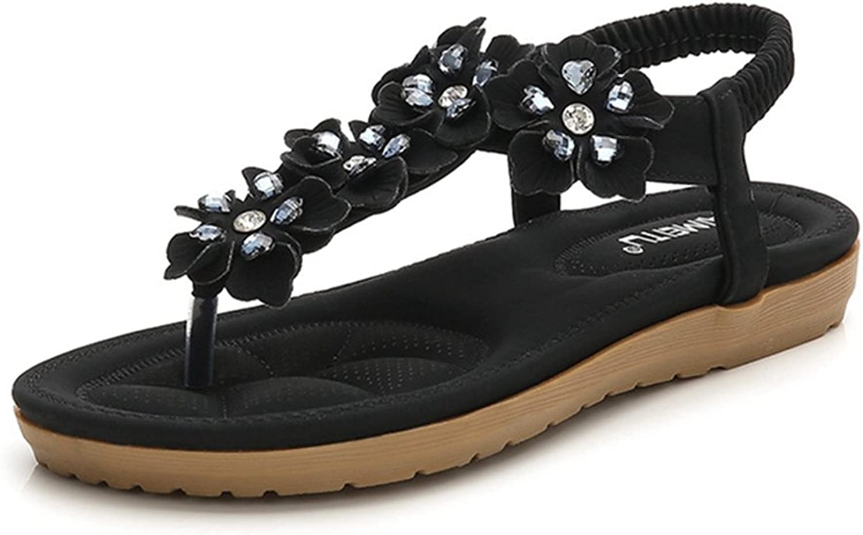 GIY Bohemian Flowers Flat Sandals for Women Rhinestone Comfort Summer Beach Thong Elastic Sandals shoes