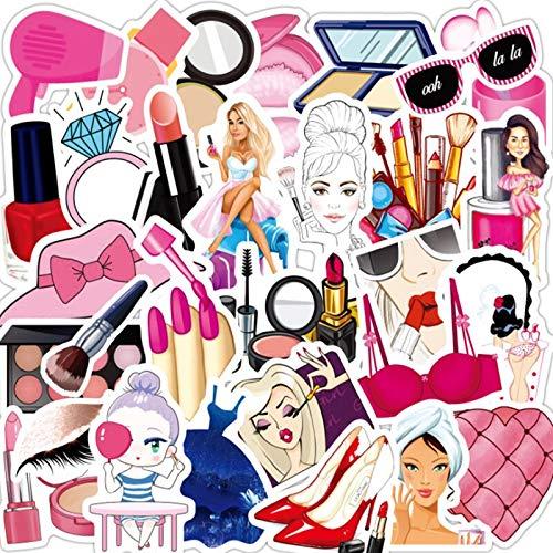 LSPLSP Conjunto de maquillaje de niña rosa computadora, botella de perfume de bálsamo labial, motocicleta impermeable caja de coche etiqueta engomada juguetes al por mayor 50pcs